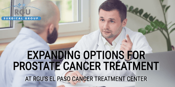 An oncologist discusses prostate cancer treatments with a patient at the RGU El Paso cancer treatment center.